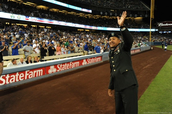 Military Hero of the Game United States Army Sergeant, Edgar Valles is honored in the second inning--Los Angeles Dodgers vs Colorado Rockies Wednesday, September 16, 2015 at Dodger Stadium in Los Angeles, California. Photo by Jon SooHoo/ ©Los Angeles Dodgers,LLC 2015