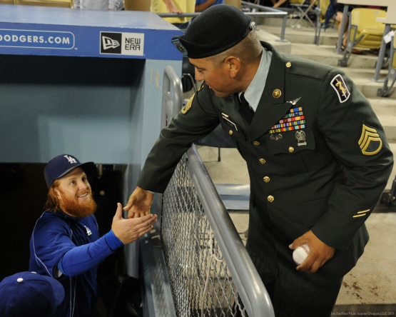 Military Hero of the Game United States Army Sergeant, Edgar Valles is greeted by Justin Turner---Los Angeles Dodgers vs Colorado Rockies Wednesday, September 16, 2015 at Dodger Stadium in Los Angeles, California. Photo by Jon SooHoo/ ©Los Angeles Dodgers,LLC 2015