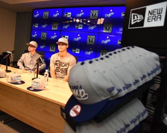 Champ Hats by New Era Press Conference with Los Angeles Dodgers center fielder, Joc Pederson and brother Champ Pederson Friday, September 18, 2015 at Dodger Stadium in Los Angeles, California. Photo by Jon SooHoo/ ©Los Angeles Dodgers,LLC 2015