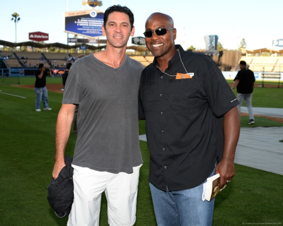 Former Dodger Shawn Green and Carlos Delgado--Los Angeles Dodgers vs Pittsburgh Pirates Friday, September 18,2015 at Dodger Stadium in Los Angeles,California. Photo by Jon SooHoo/© Los Angeles  Dodgers,LLC 2015