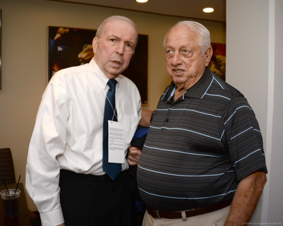 Frank Sinatra Jr and Tommy Lasorda--Los Angeles Dodgers vs Pittsburgh Pirates Friday, September 18,2015 at Dodger Stadium in Los Angeles,California. Photo by Jon SooHoo/© Los Angeles  Dodgers,LLC 2015