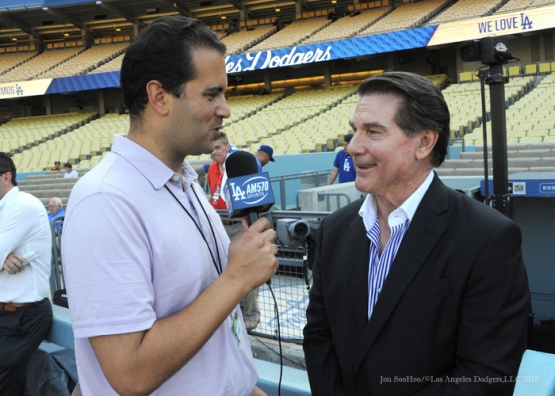 Steve Garvey doing a radio interview David Vassegh--Los Angeles Dodgers vs Arizona Diamondbacks Tuesday, September 22, 2015 at Dodger Stadium in Los Angeles,California. Photo by Jon SooHoo/© Los Angeles  Dodgers,LLC 2015