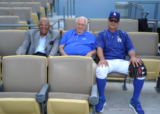 Don Newcombe, Tommy Lasorda and Don Mattingly--Los Angeles Dodgers vs Arizona Diamondbacks Tuesday, September 22, 2015 at Dodger Stadium in Los Angeles,California. Photo by Jon SooHoo/© Los Angeles  Dodgers,LLC 2015