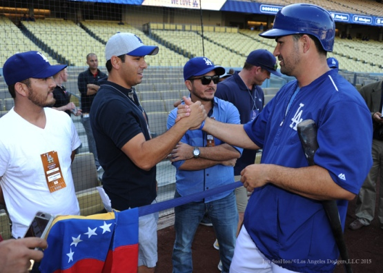 Adrian Gonzalez greets fans--Los Angeles Dodgers vs Arizona Diamondbacks Tuesday, September 22, 2015 at Dodger Stadium in Los Angeles,California. Photo by Jon SooHoo/© Los Angeles  Dodgers,LLC 2015