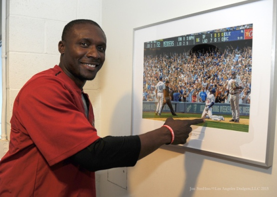 Former Dodger Orlando Hudson points to one of his moments in Los Angeles Dodgers history Tuesday, September 22, 2015 at Dodger Stadium in Los Angeles,California. Photo by Jon SooHoo/© Los Angeles  Dodgers,LLC 2015