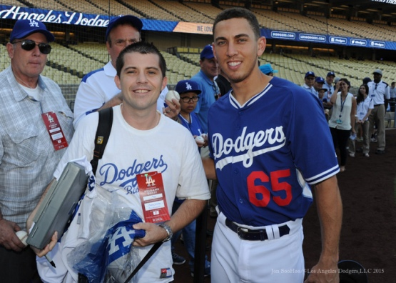 Austin Barnes poses with Austin Barnes--Los Angeles Dodgers vs Arizona Diamondbacks Tuesday, September 22, 2015 at Dodger Stadium in Los Angeles,California. Photo by Jon SooHoo/© Los Angeles  Dodgers,LLC 2015