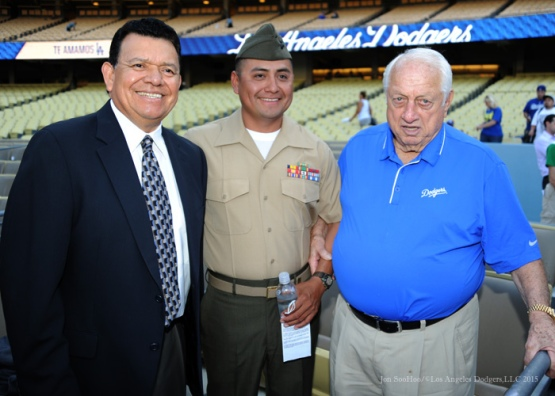 Military Hero of the Game, US Marine Corp Staff Sergeant Guillermo Martines poses with Tommy Lasorda and Fernando Valenzuela Tuesday, September 22, 2015 at Dodger Stadium in Los Angeles,California. Photo by Jon SooHoo/© Los Angeles  Dodgers,LLC 2015