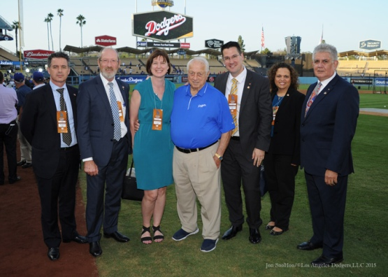 Tommy Lasorda poses with guests from Australia Tuesday, September 22, 2015 at Dodger Stadium in Los Angeles,California. Photo by Jon SooHoo/© Los Angeles  Dodgers,LLC 2015