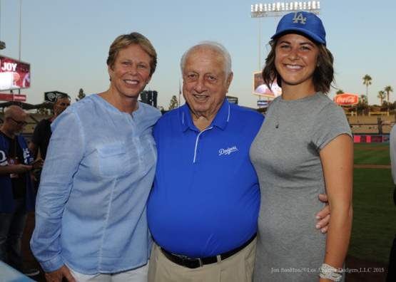 Ann Meyers Drysdale with Tommy Lasorda and Meyer's daughter Drew  Tuesday, September 22, 2015 at Dodger Stadium in Los Angeles,California. Photo by Jon SooHoo/© Los Angeles  Dodgers,LLC 2015