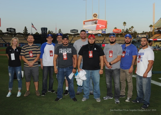 Wounded Warrior Veterans poses before Los Angeles Dodgers vs Arizona Diamondbacks gameTuesday, September 22, 2015 at Dodger Stadium in Los Angeles,California. Photo by Jon SooHoo/© Los Angeles  Dodgers,LLC 2015