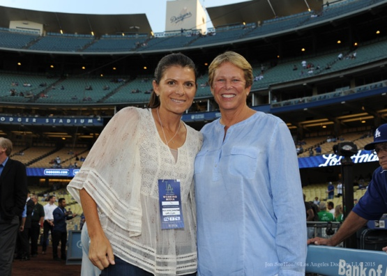 Mia Hamm and Ann Meyers Drysdale pose prior to Los Angeles Dodgers vs Arizona Diamondbacks game Tuesday, September 22, 2015 at Dodger Stadium in Los Angeles,California. Photo by Jon SooHoo/© Los Angeles  Dodgers,LLC 2015