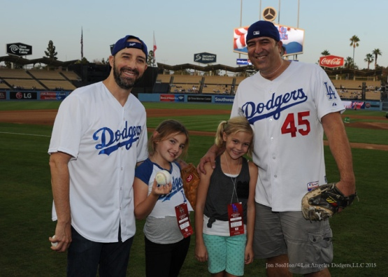 Actor Tony Hale poses with his guests before Los Angeles Dodgers vs Arizona Diamondbacks game Tuesday, September 22, 2015 at Dodger Stadium in Los Angeles,California. Photo by Jon SooHoo/© Los Angeles  Dodgers,LLC 2015