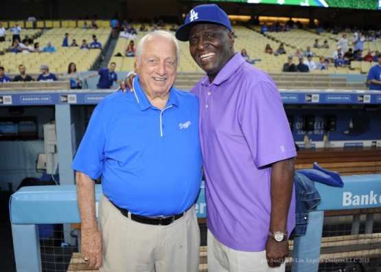 Birthday boys Tommy Lasorda and Sweet Lou Johnson--Los Angeles Dodgers vs Arizona Diamondbacks Tuesday, September 22, 2015 at Dodger Stadium in Los Angeles,California. Photo by Jon SooHoo/© Los Angeles  Dodgers,LLC 2015