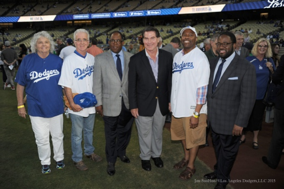 Steve Garvey poses with guests--Los Angeles Dodgers vs Arizona Diamondbacks Tuesday, September 22, 2015 at Dodger Stadium in Los Angeles,California. Photo by Jon SooHoo/© Los Angeles  Dodgers,LLC 2015