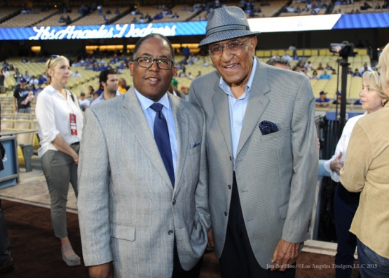 Don Newcombe poses with LA County Supervisors Mark Ridley-Thomas--Los Angeles Dodgers vs Arizona Diamondbacks Tuesday, September 22, 2015 at Dodger Stadium in Los Angeles,California. Photo by Jon SooHoo/© Los Angeles  Dodgers,LLC 2015