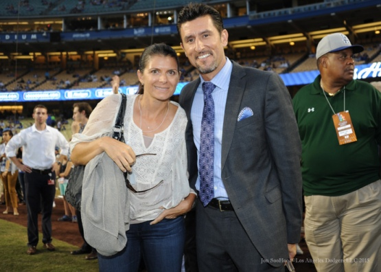 Mia Hamm with husband Nomar Garciaparra--Los Angeles Dodgers vs Arizona Diamondbacks Tuesday, September 22, 2015 at Dodger Stadium in Los Angeles,California. Photo by Jon SooHoo/© Los Angeles  Dodgers,LLC 2015