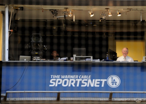 Vin in the booth--Los Angeles Dodgers vs Arizona Diamondbacks Tuesday, September 22, 2015 at Dodger Stadium in Los Angeles,California. Photo by Jon SooHoo/© Los Angeles  Dodgers,LLC 2015