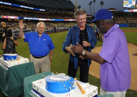 Alan Thicke helps celebrate birthdays of Tommy Lasorda and Sweet Lou Johnson--Los Angeles Dodgers vs Arizona Diamondbacks Tuesday, September 22, 2015 at Dodger Stadium in Los Angeles,California. Photo by Jon SooHoo/© Los Angeles  Dodgers,LLC 2015