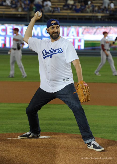 Actor Tony Hale throws out the ceremonial first pitch--Los Angeles Dodgers vs Arizona Diamondbacks Tuesday, September 22, 2015 at Dodger Stadium in Los Angeles,California. Photo by Jon SooHoo/© Los Angeles  Dodgers,LLC 2015