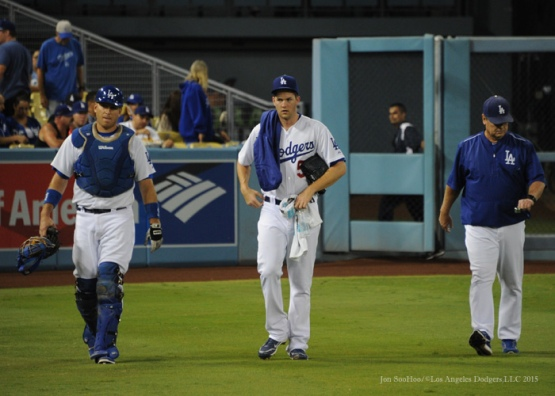 A.J.Ellis, Alex Wood and Rick Honeycutt--Los Angeles Dodgers vs Arizona Diamondbacks Tuesday, September 22, 2015 at Dodger Stadium in Los Angeles,California. Photo by Jon SooHoo/© Los Angeles  Dodgers,LLC 2015