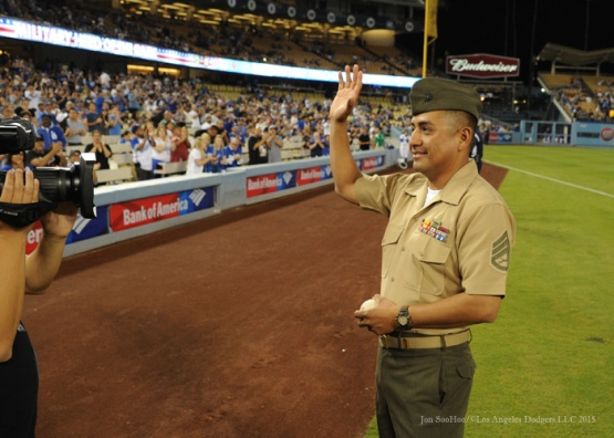 Military Hero of the Game, US Marine Corps Guillermo Martines Tuesday, September 22, 2015 at Dodger Stadium in Los Angeles,California. Photo by Jon SooHoo/© Los Angeles  Dodgers,LLC 2015