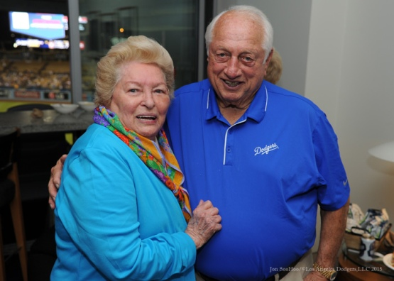Jo and Tommy Lasorda--Los Angeles Dodgers vs Arizona Diamondbacks Tuesday, September 22, 2015 at Dodger Stadium in Los Angeles,California. Photo by Jon SooHoo/© Los Angeles  Dodgers,LLC 2015