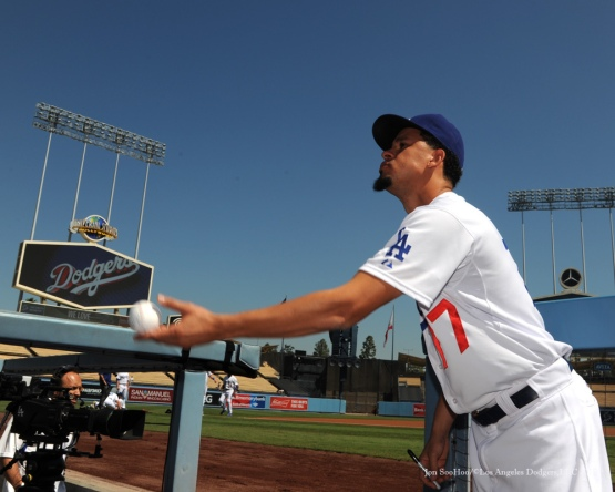 Carlos Frias signs for fans before game vs Arizona Diamondbacks Thursday, September 24, 2015 at Dodger Stadium in Los Angeles,California. Photo by Jon SooHoo/© Los Angeles  Dodgers,LLC 2015