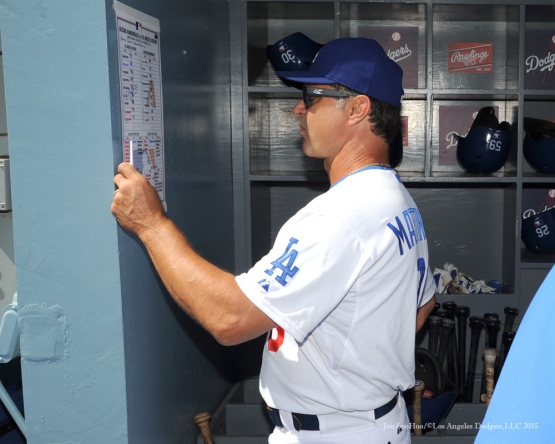 Don Mattingly checks the lineup Thursday, September 24, 2015 at Dodger Stadium in Los Angeles,California. Photo by Jon SooHoo/© Los Angeles  Dodgers,LLC 2015