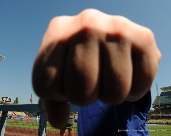 Hyun-jin Ryu fist--Los Angeles Dodgers vs Arizona Diamondbacks Thursday, September 24, 2015 at Dodger Stadium in Los Angeles,California. Photo by Jon SooHoo/© Los Angeles  Dodgers,LLC 2015