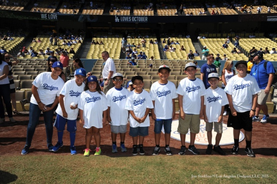 Kids Taking the Field---Los Angeles Dodgers vs Arizona Diamondbacks Thursday, September 24, 2015 at Dodger Stadium in Los Angeles,California. Photo by Jon SooHoo/© Los Angeles  Dodgers,LLC 2015