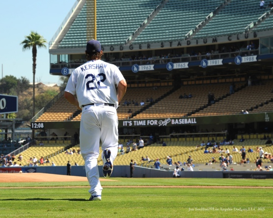 Los Angeles Dodgers Clayton Kershaw takes the field vs Arizona Diamondbacks Thursday, September 24, 2015 at Dodger Stadium in Los Angeles,California. Photo by Jon SooHoo/© Los Angeles  Dodgers,LLC 2015