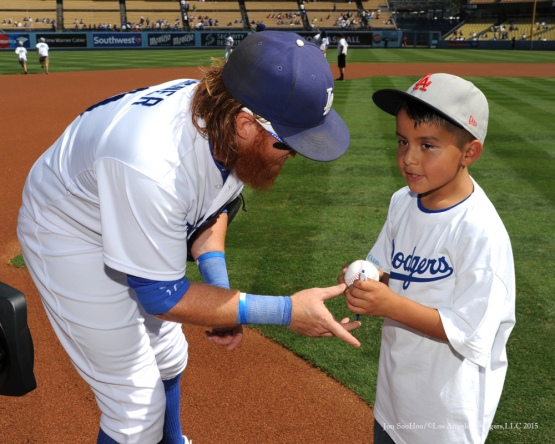 Justin Turner and fan--Los Angeles Dodgers vs Arizona Diamondbacks Thursday, September 24, 2015 at Dodger Stadium in Los Angeles,California. Photo by Jon SooHoo/© Los Angeles  Dodgers,LLC 2015
