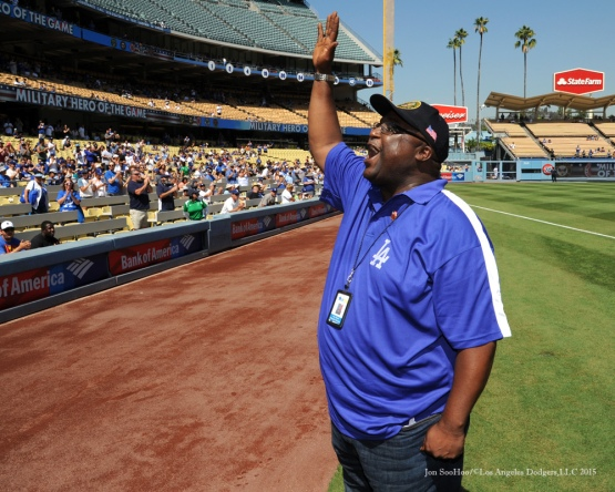 Military Hero of the Game- US Army First Class, Ivan Mason--Los Angeles Dodgers vs Arizona Diamondbacks Thursday, September 24, 2015 at Dodger Stadium in Los Angeles,California. Photo by Jon SooHoo/© Los Angeles  Dodgers,LLC 2015