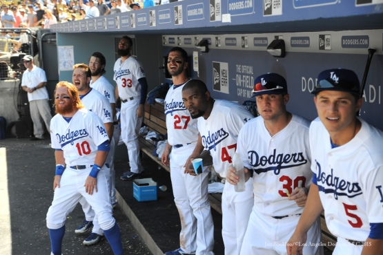 Los Angeles Dodgers players watch Alex Guerrero ball vs Arizona Diamondbacks Thursday, September 24, 2015 at Dodger Stadium in Los Angeles,California. Photo by Jon SooHoo/© Los Angeles  Dodgers,LLC 2015