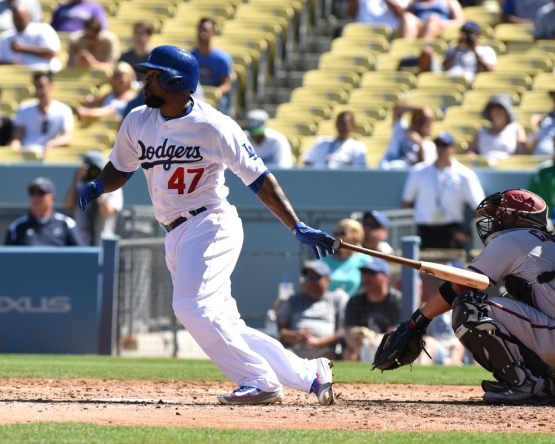Howie Kendrick singles--Los Angeles Dodgers vs Arizona Diamondbacks Thursday, September 24, 2015 at Dodger Stadium in Los Angeles,California. Photo by Jon SooHoo/© Los Angeles  Dodgers,LLC 2015