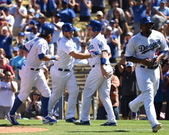 Chris Heisey greeted by teammates after fifth inning grand slam--Los Angeles Dodgers vs Arizona Diamondbacks Thursday, September 24, 2015 at Dodger Stadium in Los Angeles,California. Photo by Jon SooHoo/© Los Angeles  Dodgers,LLC 2015