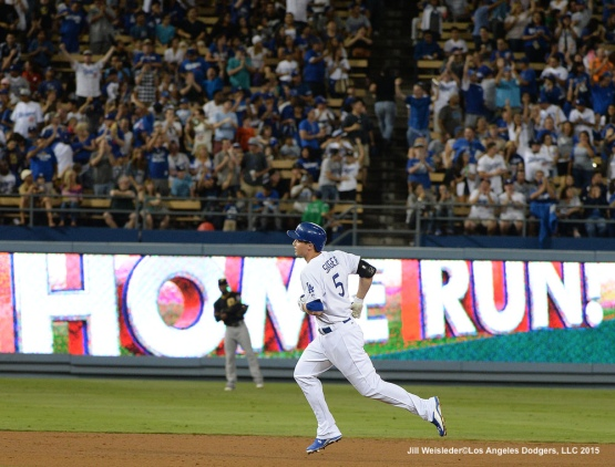Corey Seager rounds the bases after getting his second big league home run. Jill Weisleder/LA Dodgers