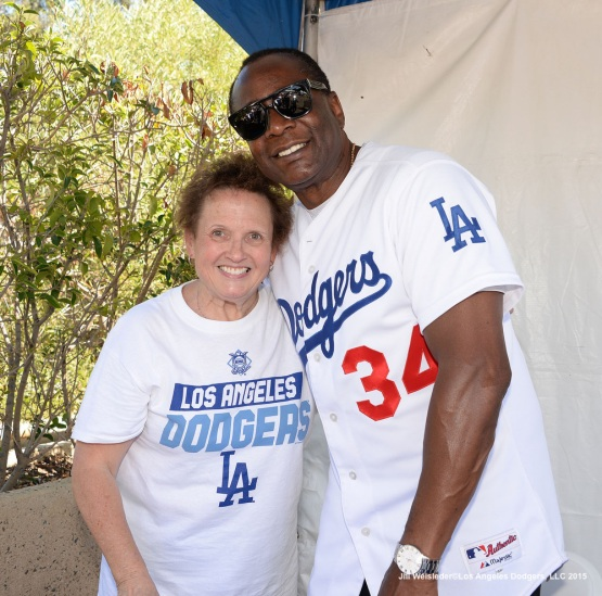 Dodger alum Lee Lacy poses for a photo with Dodger fan Jane. Jill Weisleder/LA Dodgers