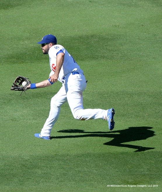 Andre Ethier makes the catch. Jill Weisleder/LA Dodgers
