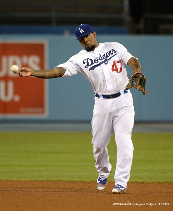 Howie Kendrick makes a play to first. Jill Weisleder/LA Dodgers