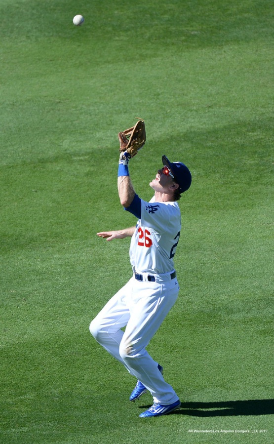 Chase Utley flags down a fly ball. Jill Weisleder/LA Dodgers