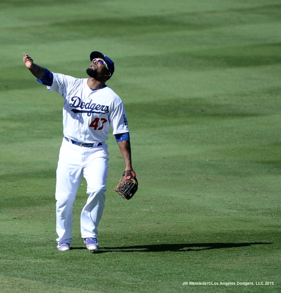 Howie Kendrick tracks down a fly ball. Jill Weisleder/LA Dodgers