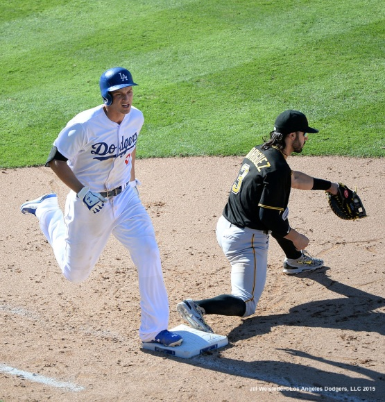 Corey Seager is out at first base. Jill Weisleder/LA Dodgers