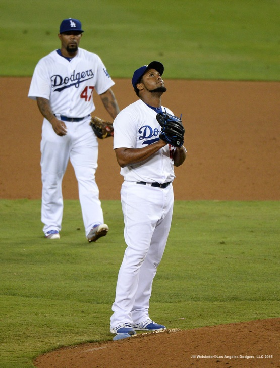 Pedro Baez looks up from the mound as he comes in to pitch. Jill Weisleder/LA Dodgers