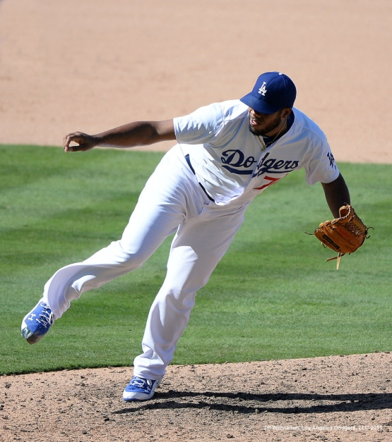 Kenley Jansen delivers a pitch in the ninth inning. Jill Weisleder/LA Dodgers
