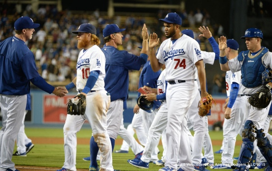 The Dodgers celebrate a 6-2 win against the Pittsburgh Pirates. Jill Weisleder/LA Dodgers