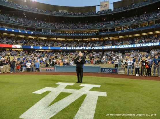 Frank Sinatra Jr. performs the national anthem prior to the start of the game. Jill Weisleder/LA Dodgers