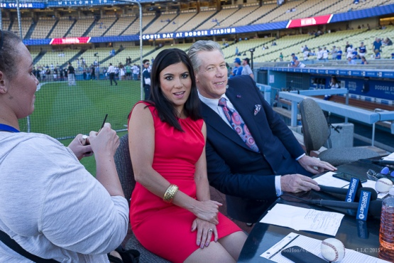 Alanna Rizzo and Orel Hershiser---Los Angeles Dodgers vs Pittsburgh Pirates Saturday, September 19, 2015 at Dodger Stadium in Los Angeles,California. Photo by Jon SooHoo/© Los Angeles  Dodgers,LLC 2015