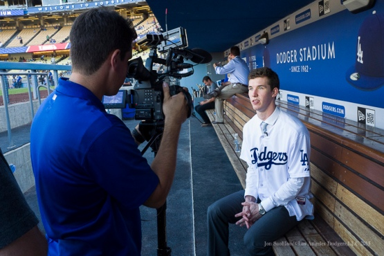 Los Angeles Dodgers first round draft pick Walker Buehler speaks to the camera prior to game vs Pittsburgh Pirates Saturday, September 19, 2015 at Dodger Stadium in Los Angeles,California. Photo by Jon SooHoo/© Los Angeles  Dodgers,LLC 2015