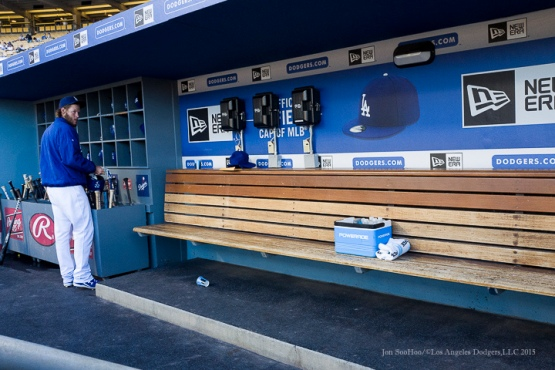 Los Angeles Dodgers Clayton Kershaw prepares for game vs Pittsburgh Pirates Saturday, September 19, 2015 at Dodger Stadium in Los Angeles,California. Photo by Jon SooHoo/© Los Angeles  Dodgers,LLC 2015